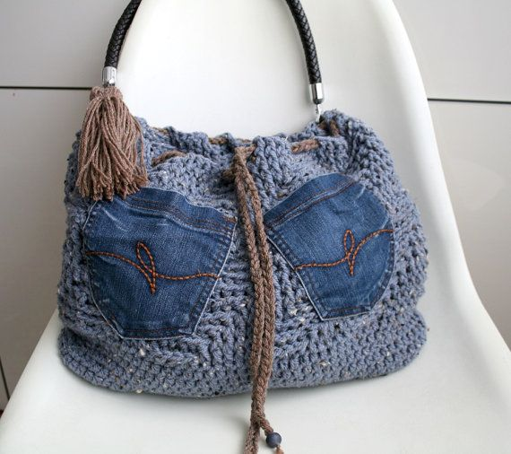 Crochet pattern, crochet bag pattern, crochet color bag pattern, boho crochet bag pattern 236 Instant Download Using upcycled denim pockets from