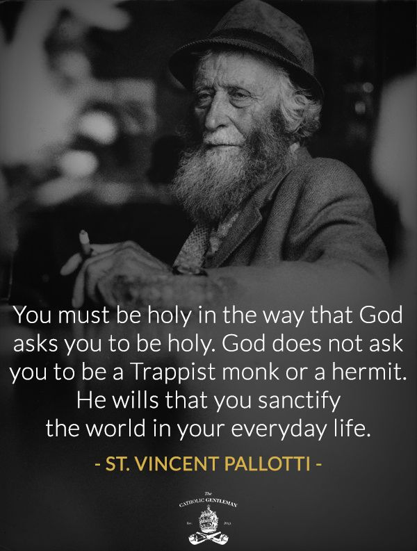 You must be holy in the way that God asks you to be holy. God does not ask you to be a Trappist monk or a hermit. He wills that you sanctify the world in your every day life. | St. Vincent Pallotti | Universal Call to Holiness