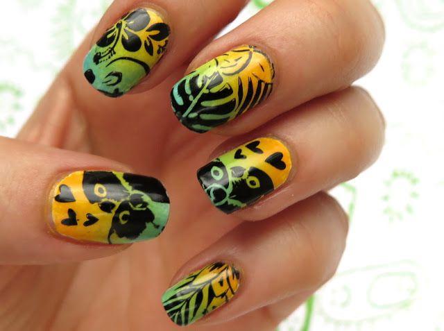Tropikalne zdobienie paznokci na lato   płytka do stempli Tropical 04 MoYou London