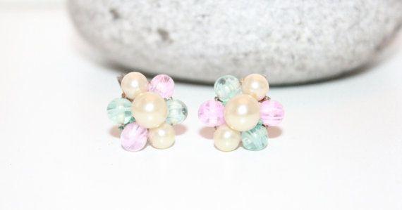 Vintage Womens Earrings, Pastel Cluster Earrings, Mini Clip On Earrings, Small Earrings, Cluster Earrings on Etsy, $6.73 CAD