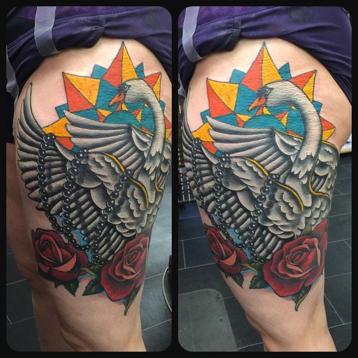 Swan + Roses tattoo by Steve Wade - All Seeing Eye Tattoo Lounge