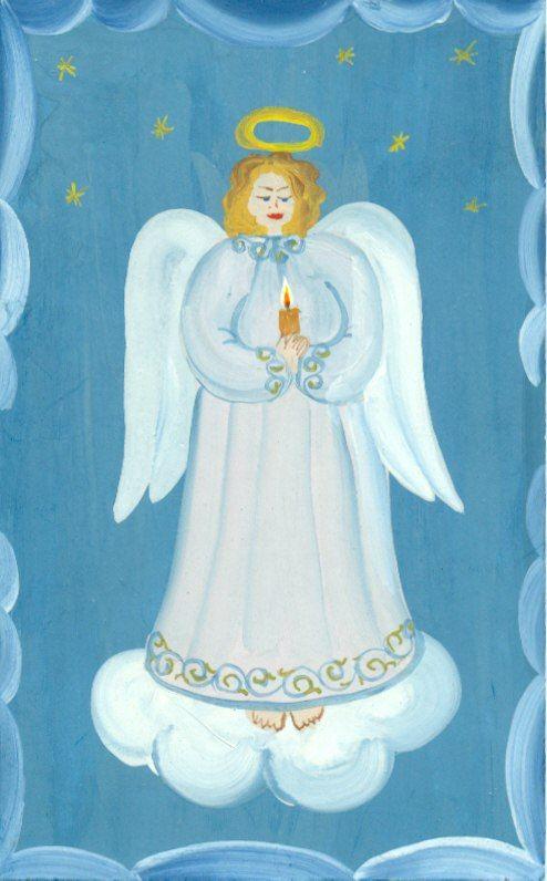 """Открытка """"Ангел"""". Автор Рыбина Ю.И. Бумага, гуашь."""