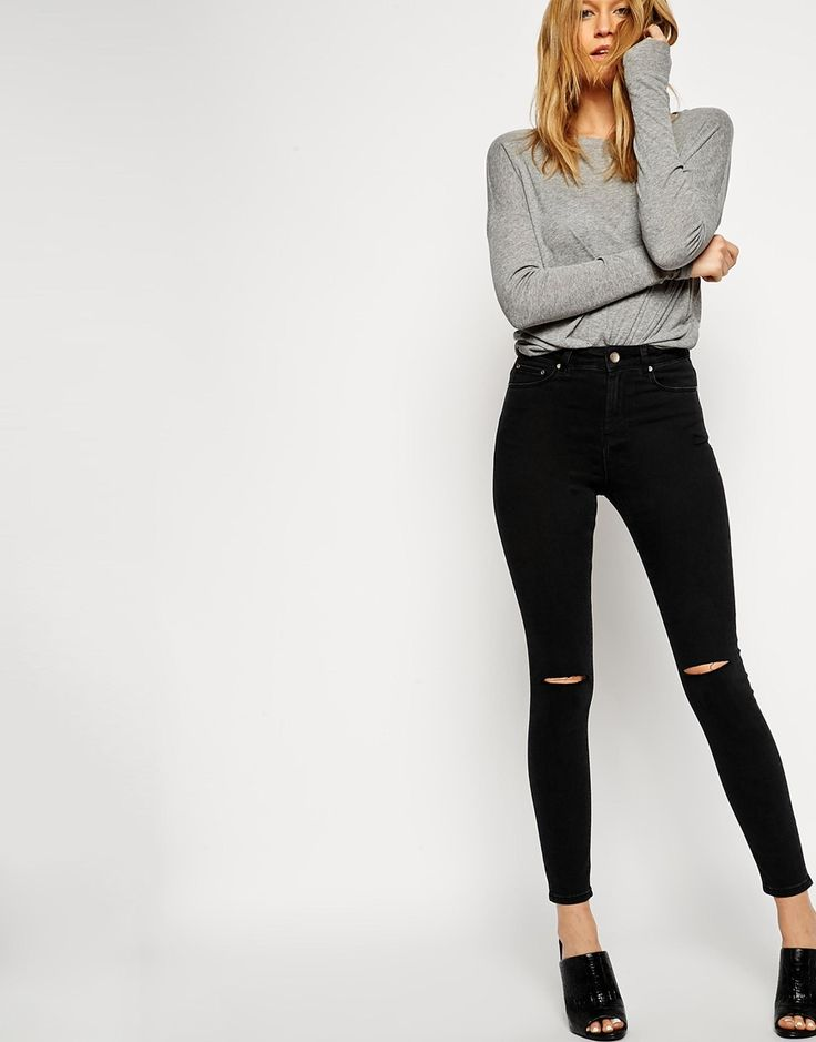 ASOS Ridley Skinny Ankle Grazer Jeans in Washed Black with Displaced Ripped Knees
