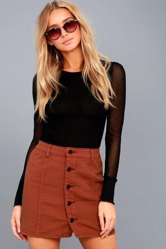 #Lulus - #Lulus Billabong / Nights Like This Terra Cotta Denim Mini Skirt / Size 27 / Orange / Lulus - AdoreWe.com