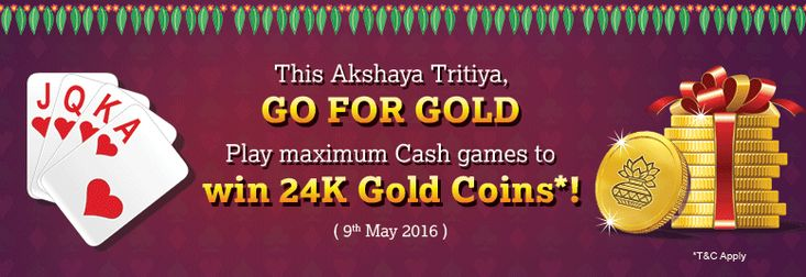 Every Indian knows that Akshaya Tritiya is the perfect time to buy Gold. To fulfill your wishes, we bring a great offer wherein you can win Gold coins by playing rummy at KhelPlayRummy. Yes, its true, you can win Gold coin by playing rummy for cash at KhelPlayRummy. Akshaya Tritiya is on 9th May this year and if you are a rummy player, win them by playing maximum number of Cash games on 9th May, 2016! (only tables above Rs. 10 will be counted) The top ten players who have played the highest…