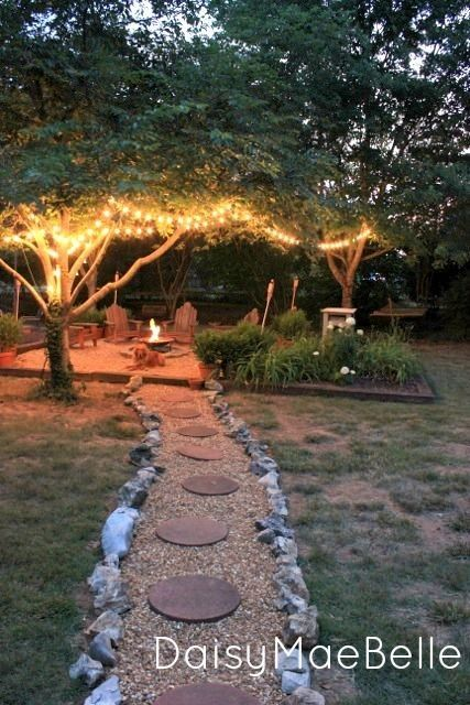 Do this walkway with sand and red bricks and then square off the fire pit and table area.... I still say move the fence up to the edge of the porch