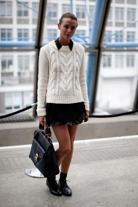 Fashion Weeks, Street Style, Black White, Fashion Inspiration, London Fashion, Style File, Knits Sweaters, Girls Outfit, Cable Knits