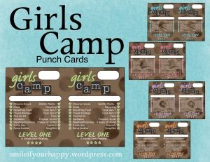 Girls Camp certification punch cards by http://smileifyourhappy.wordpress.com