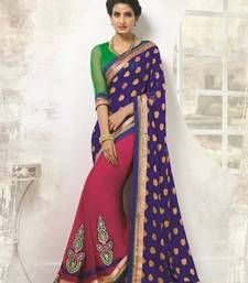 Buy Blue and rani pink embroidered jacquard saree with blouse wedding-saree online