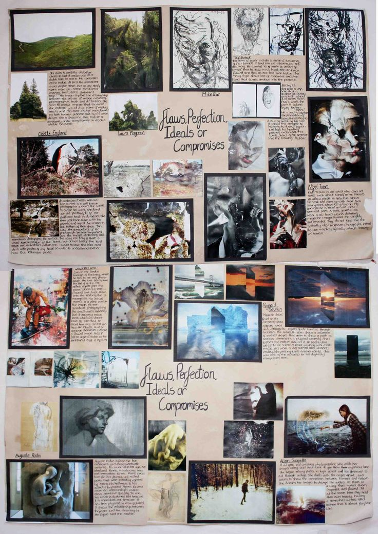 A2 Fine Art A Level 2 x A2 paper Journal pages, Initial ESA Brainstorm - Flaws Perfections Ideals and Compromises, Thomas Rotherham College, 2014