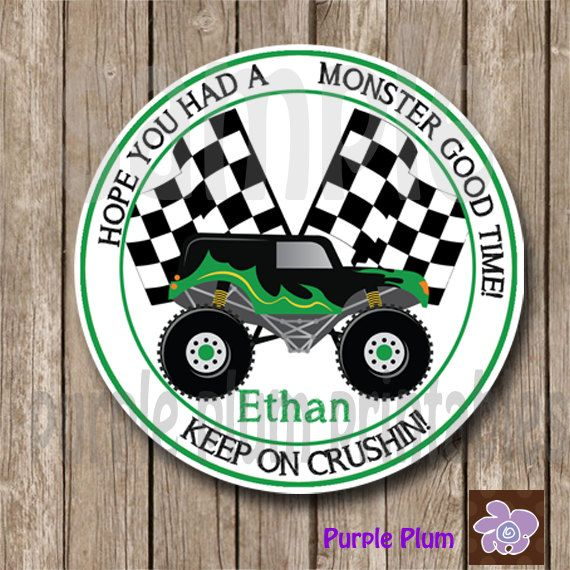 Monster Truck Favor Tag -Grave Digger Birthday Party - Monster Truck Party Tags