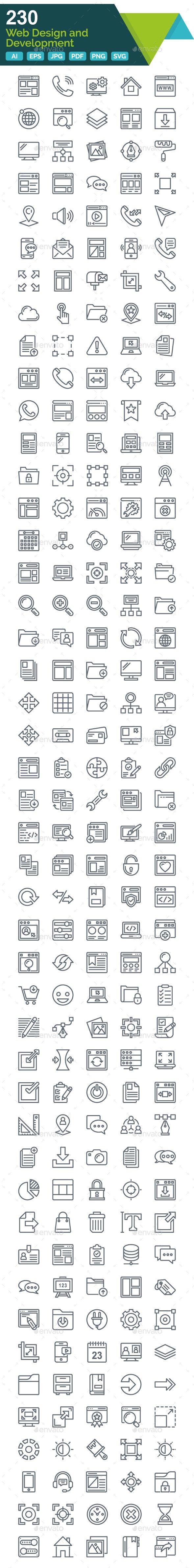 Web Design and Development Line icons