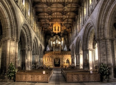 St. Davids Cathedral (Pembrokeshire, Wales, UK)    This HDR shot was taken in Britain's smallest city St. Davids, named after the patron saint of Wales. This shot was taken in the Nave of the Cathedral, looking towards the altar.