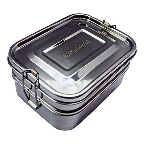 Brandenburg Classic Stainless Steel Bento Box, Eco-Friendly Lunch Box, 3-in-1 Food Container – Extra Large Size, Compact Tiffin Design, Kid and Adult Friendly
