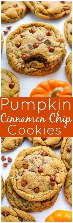 Chewy Cinnamon Chip Pumpkin Cookies! Not cakey at all and LOADED with real pumpkin flavor.