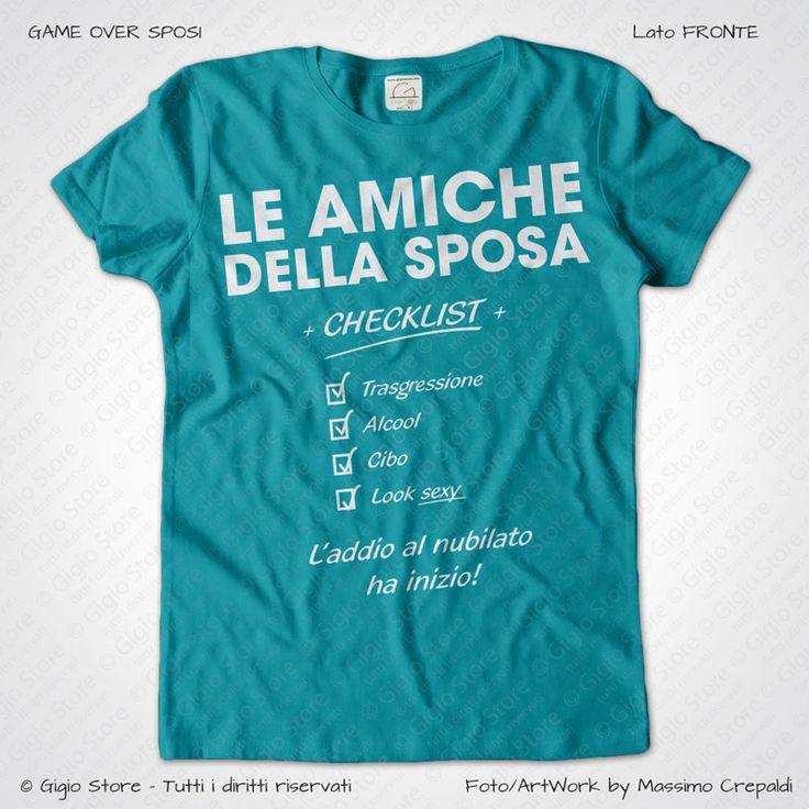 Magliette Addio al Nubilato Amiche della Sposa T-Shirt colore Tiffany Stampa Personalizzata Bianco Taglia XS, S, M, L, XL