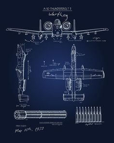 """Check out this """"A-10 Blueprint Art"""" poster art found only at squadronposters.com"""