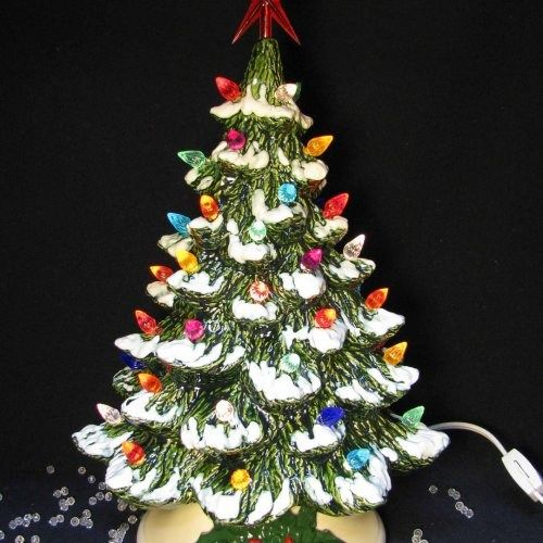 Tabletop Ceramic Christmas Tree Snow Tipped Branches 16 Inch Tall