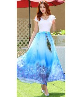 Presenting Blue And Multi Color Georgette Skirt.