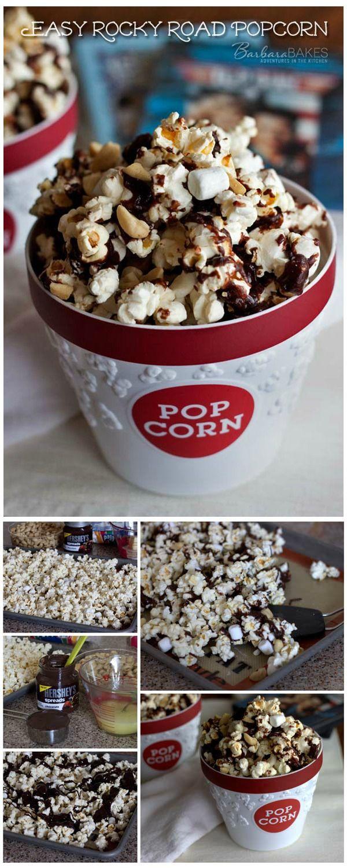 Easy Rocky Road Popcorn - It's a fudgy, crunchy, salty, chocolatey, easy-to-make snack. #snack #recipe