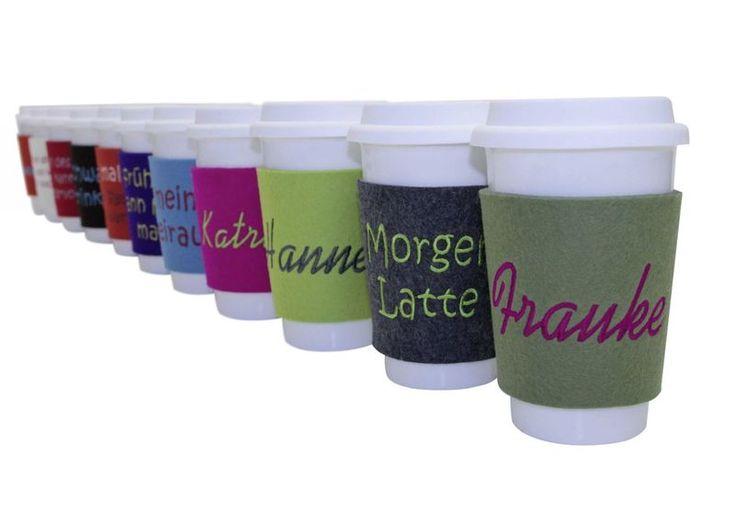 """Becher & Tassen - Personalisierter """"coffee to go"""" Becher - ein Designerstück von Alpenfilz bei DaWanda"""