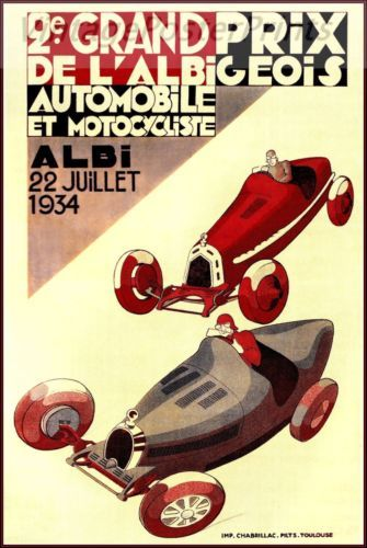 Grand Prix d Albi 1934 Vintage Poster Print Art French Automobile Car Races http://stores.ebay.com/Vintage-Poster-Prints-and-more
