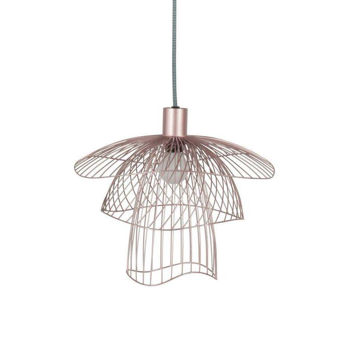 Lampa wisząca mały model składająca się ze struktury wykonanej z 3 modułów o różnych wielkościach z metalowych nici oraz kabla zasilającego pokrytego materiałem wraz z lakierowaną rozetą...