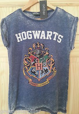 HARRY POTTER PRIMARK T SHIRT Hogwarts Burnout WOMENS LADIES Blue sizes 6 - 20