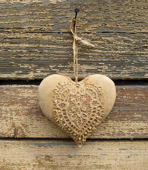 Подарок примитивное сердце украшения хлопчатобумажной ткани сердца деревенский стены Декор страны Валентина винтажный стиль ткани сердца потертый шик сердца