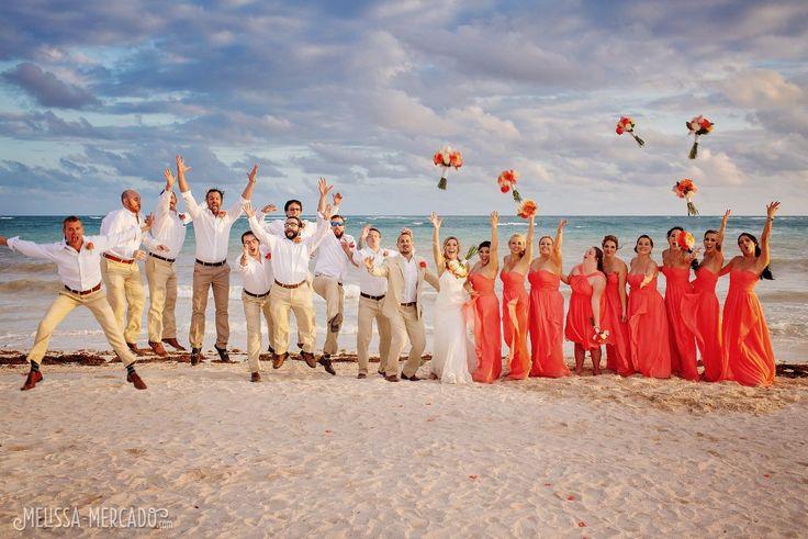 Coral bridesmaid dresses and groomsmen in white and khaki, Dreams Tulum beach destination wedding photography, melissa-mercado.com