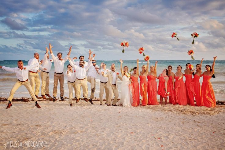 Coral bridesmaid dresses and groomsmen in white and khaki, Dreams Tulum beach destination wedding photography, melissa-mercado.com