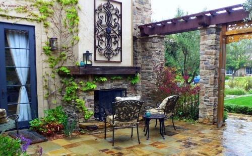.: Outdoor Living, Orange County, Hallette Taylors, Outdoor Room, Wrought Iron, Lisa Hallette, Outdoor Fireplaces, Outdoor Spaces, Mediterranean Patios