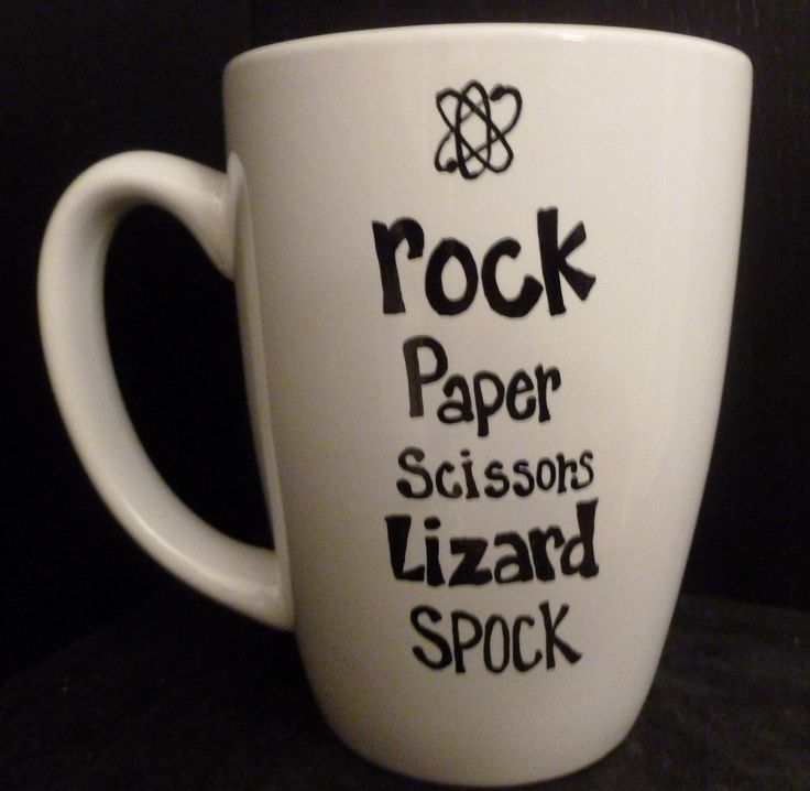 Big BANG Theory MUG Lizard SPOCK Expansion. $9.50, via Etsy. (oooor do this with a sharpie and bake it on)
