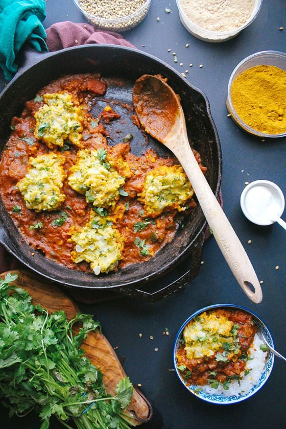 Chickpea Dumplings in Curry Tomato Sauce - Vegan (chickpea flour - or besan - is easy to find in Indian or Middle Eastern markets)