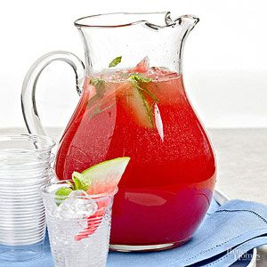 This fruity, minty drink has summertime written all over it. For a simple shortcut, purchase a seedless watermelon./