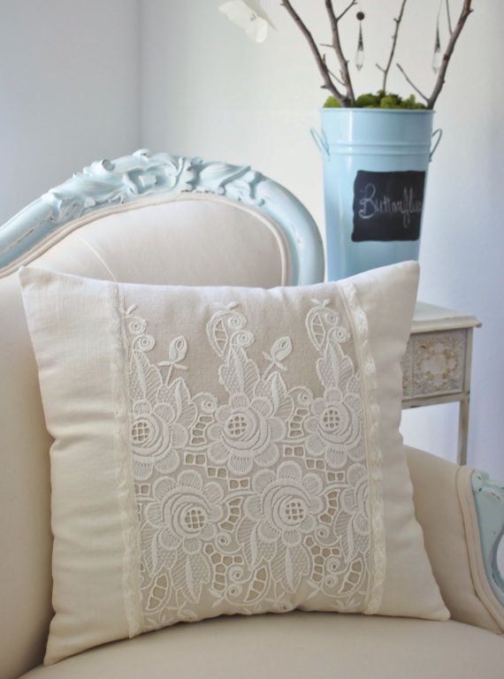 Vintage French cutwork embroidery pillow w/cream fleurs and rosebuds design