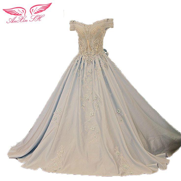 Barato AnXin SH Luxo novas rendas Coreano azul de cetim vestido de casamento azul cristal arco de noiva beadding vestido 100% de Imagem Real xj57116, Compro Qualidade Vestidos de casamento diretamente de fornecedores da China: AnXin SH Luxo novas rendas Coreano azul de cetim vestido de casamento azul cristal arco de noiva beadding vestido 100% de Imagem Real xj57116
