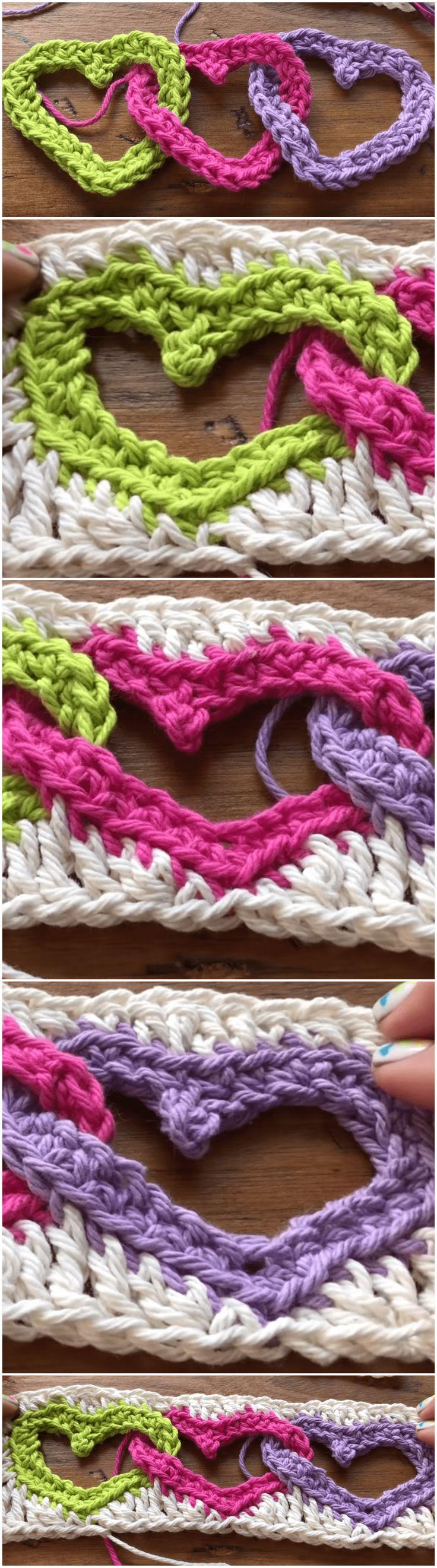 Linked Hearts Crochet Motif Free Pattern For Beginners