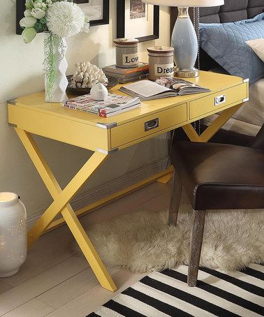 Yellow Concord Campaign Desk by HomeBelle #zulily *love it