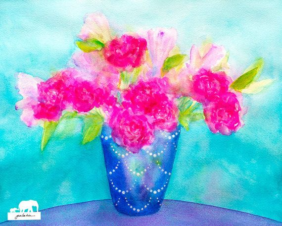 Watercolor Art Print: Cobalt blue vase with glitter by GinaLeeKim
