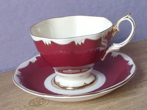 Vintage Royal Albert Mid Century tea cup and saucer, Red tea cup, English tea…