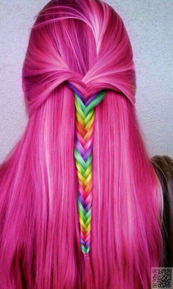 5. #Falling down Your Back - Rainbow #Braids That Will Make You Want to Dye Your Hair Today ... → Hair #Styles