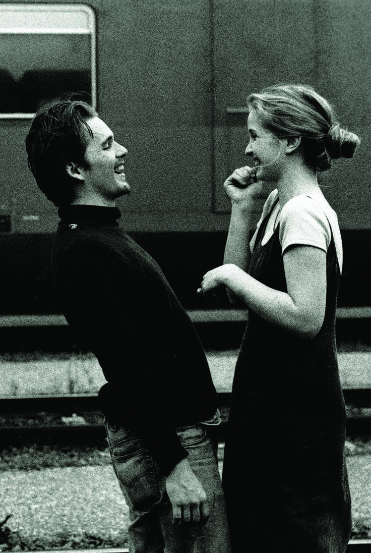 "obsessedwithethanhawke: "" Ethan Hawke & Julie Delpy in Before Sunrise (1995). Shot by Gabriela Brandenstein """