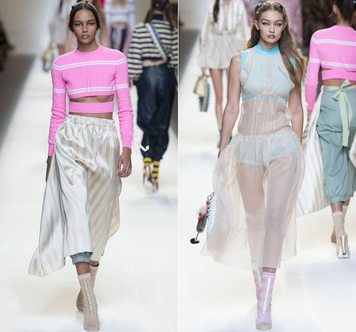 Полосатые кроп-топы и свободные юбки от Fendi Весна-Лето 2017 Ready to wear