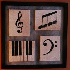 Multiple canvas painting music piano