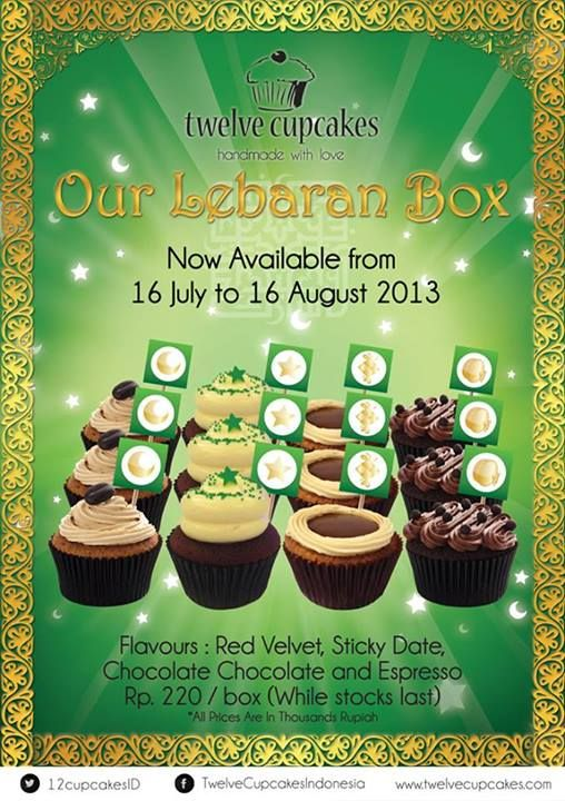 Twelve Cupcakes Indonesia's Lebaran Box!  Consist of Red Velvet, Sticky Date, Espresso and Chocolate Chocolate cupcakes. Available from 16 July - 16 August 2013