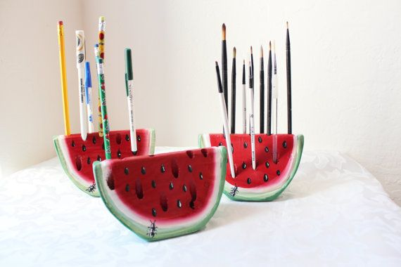Pen Pencil Paint brush Holder Watermelon Slice by WhatWeMade, $16.99