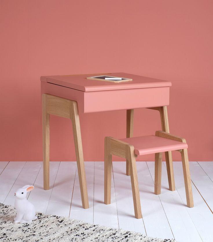 Image of Bureau enfant style pupitre - My Little Pupitre  - Rose rétro - Noyer ou Chêne