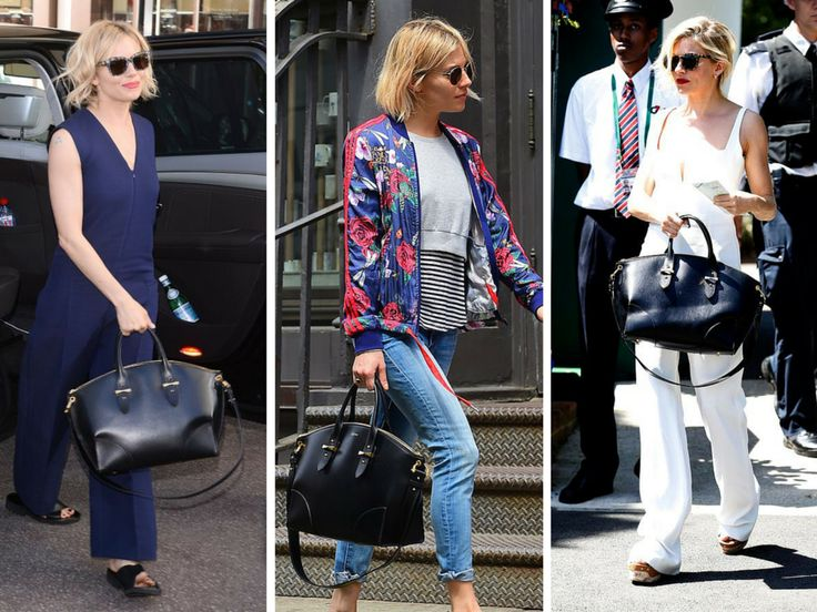 Sienna Miller spotted with her Legend bag by Alexander McQueen.