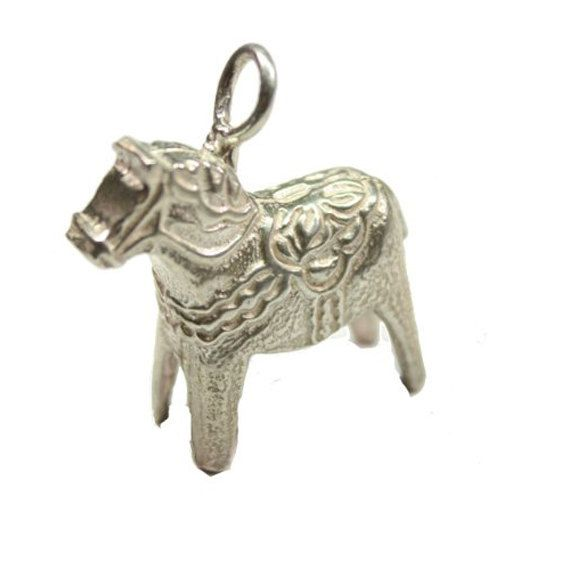 Cute! Sterling Silver Swedish Dalahast Pendant for Hand Crafted Silver